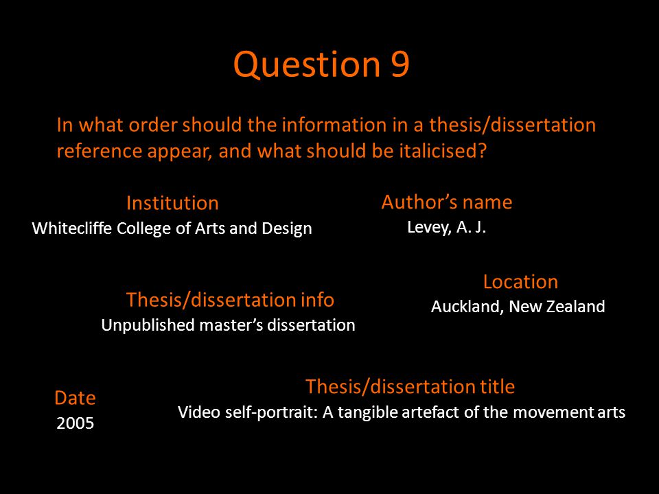 Question 9 In what order should the information in a thesis/dissertation reference appear, and what should be italicised? Whitecliffe College of Arts