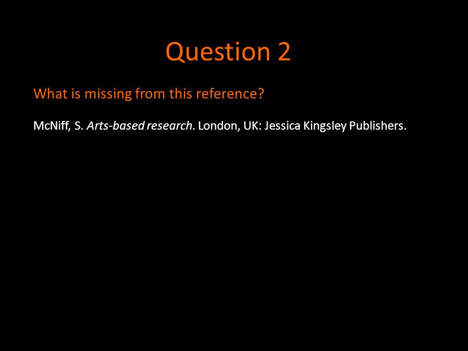 Question 2 McNiff, S. Arts-based research. London, UK: Jessica Kingsley Publishers. What is missing from this reference?