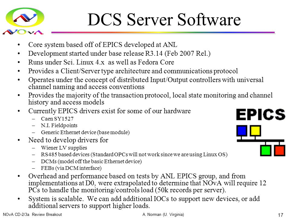 DCS Server Software Core system based off of EPICS developed at ANL Development started under base release R3.14 (Feb 2007 Rel.) Runs under Sci. Linux