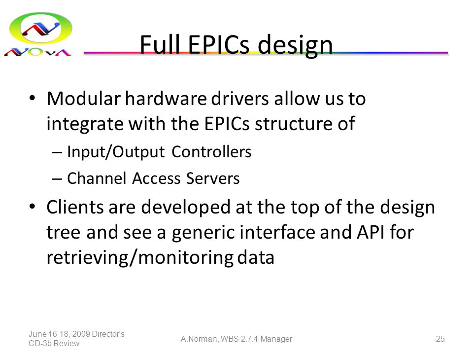 Full EPICs design Modular hardware drivers allow us to integrate with the EPICs structure of – Input/Output Controllers – Channel Access Servers Clien