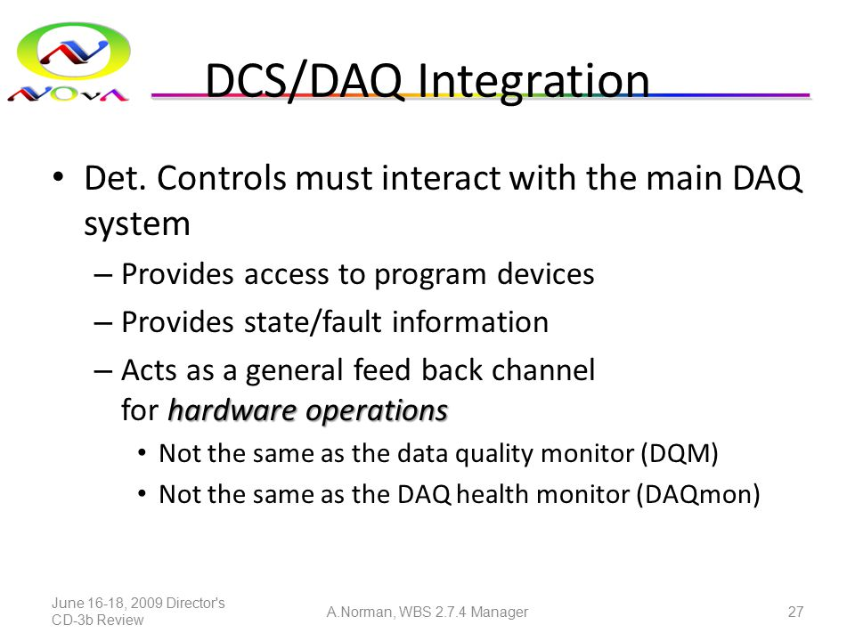 DCS/DAQ Integration Det. Controls must interact with the main DAQ system – Provides access to program devices – Provides state/fault information hardw