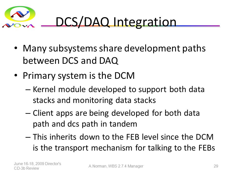 DCS/DAQ Integration Many subsystems share development paths between DCS and DAQ Primary system is the DCM – Kernel module developed to support both da