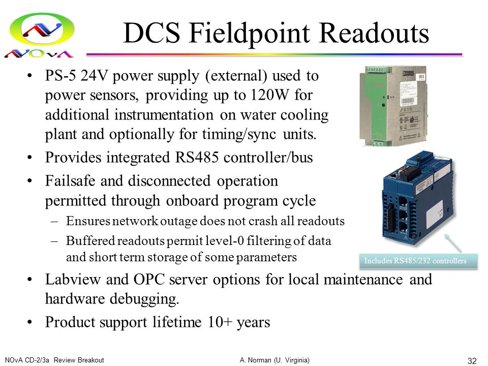 DCS Fieldpoint Readouts PS-5 24V power supply (external) used to power sensors, providing up to 120W for additional instrumentation on water cooling p