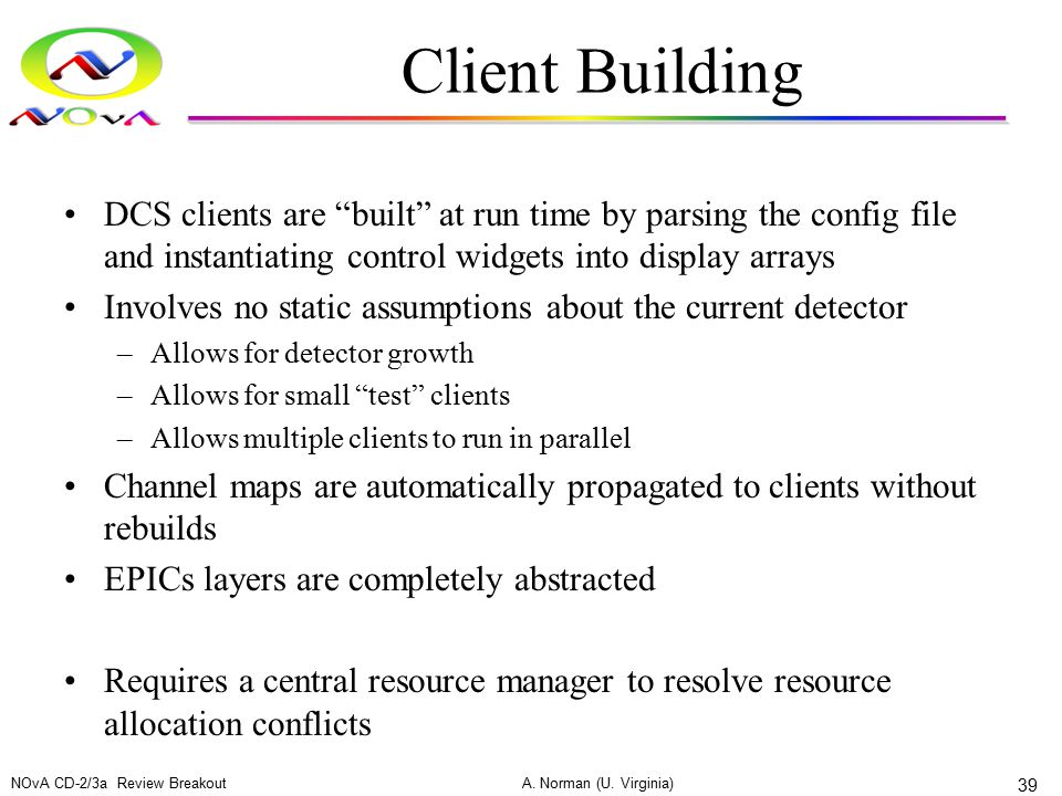 "Client Building DCS clients are ""built"" at run time by parsing the config file and instantiating control widgets into display arrays Involves no stati"