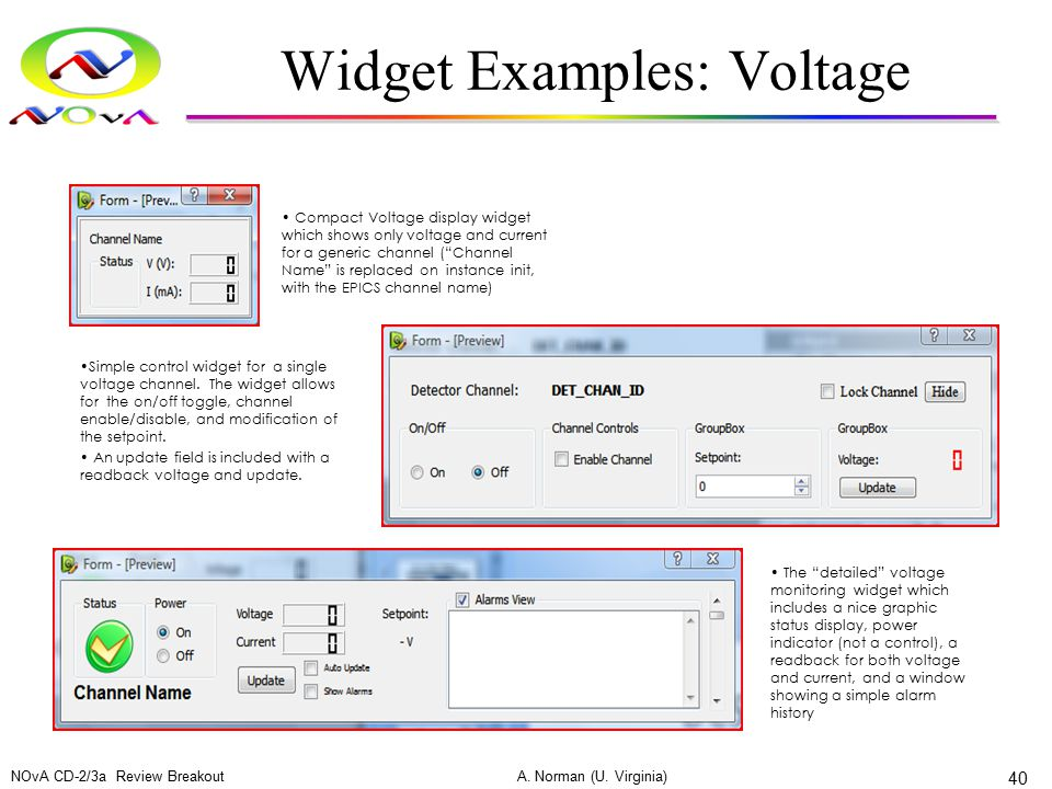 Widget Examples: Voltage NOvA CD-2/3a Review Breakout A. Norman (U. Virginia) 40 Compact Voltage display widget which shows only voltage and current f