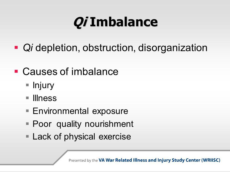 Qi Imbalance  Qi depletion, obstruction, disorganization  Causes of imbalance  Injury  Illness  Environmental exposure  Poor quality nourishment