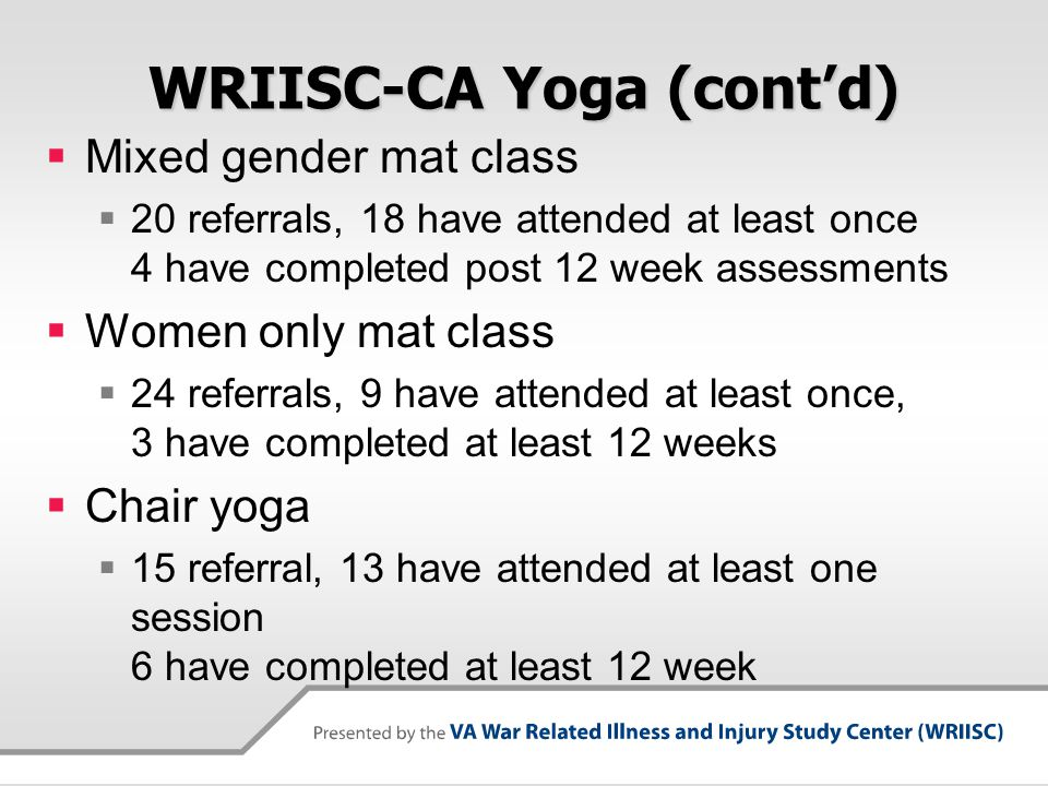 WRIISC-CA Yoga (cont'd)  Mixed gender mat class  20 referrals, 18 have attended at least once 4 have completed post 12 week assessments  Women only