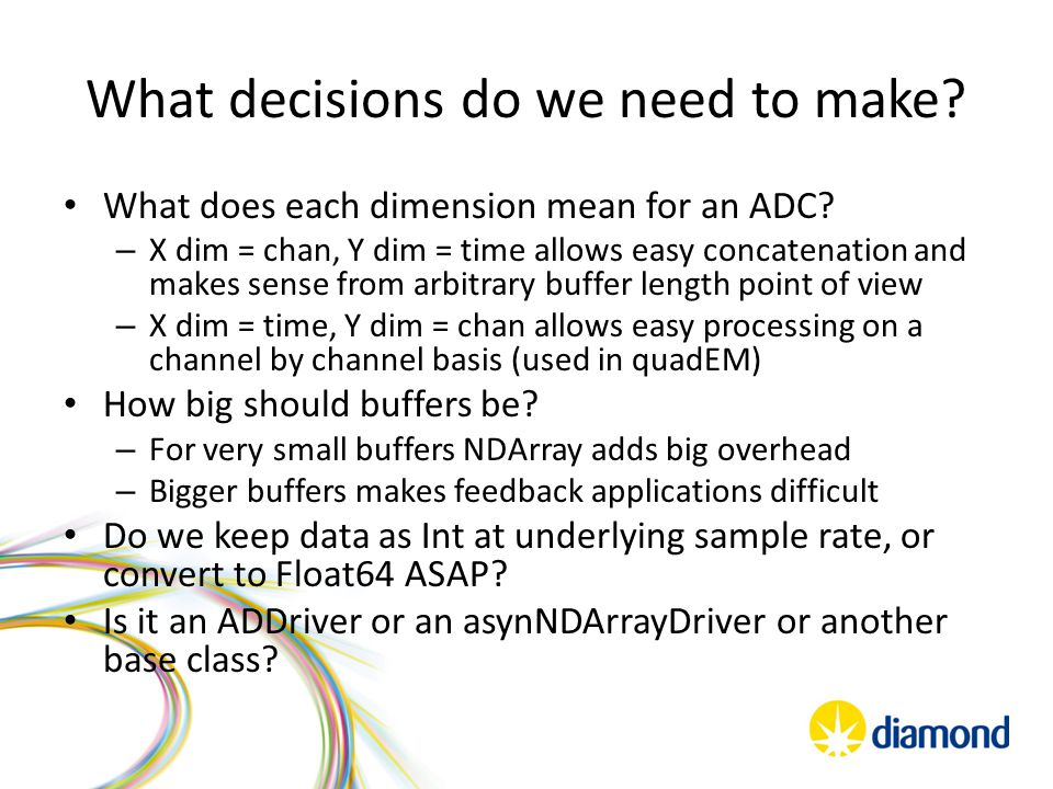 What decisions do we need to make? What does each dimension mean for an ADC? – X dim = chan, Y dim = time allows easy concatenation and makes sense fr