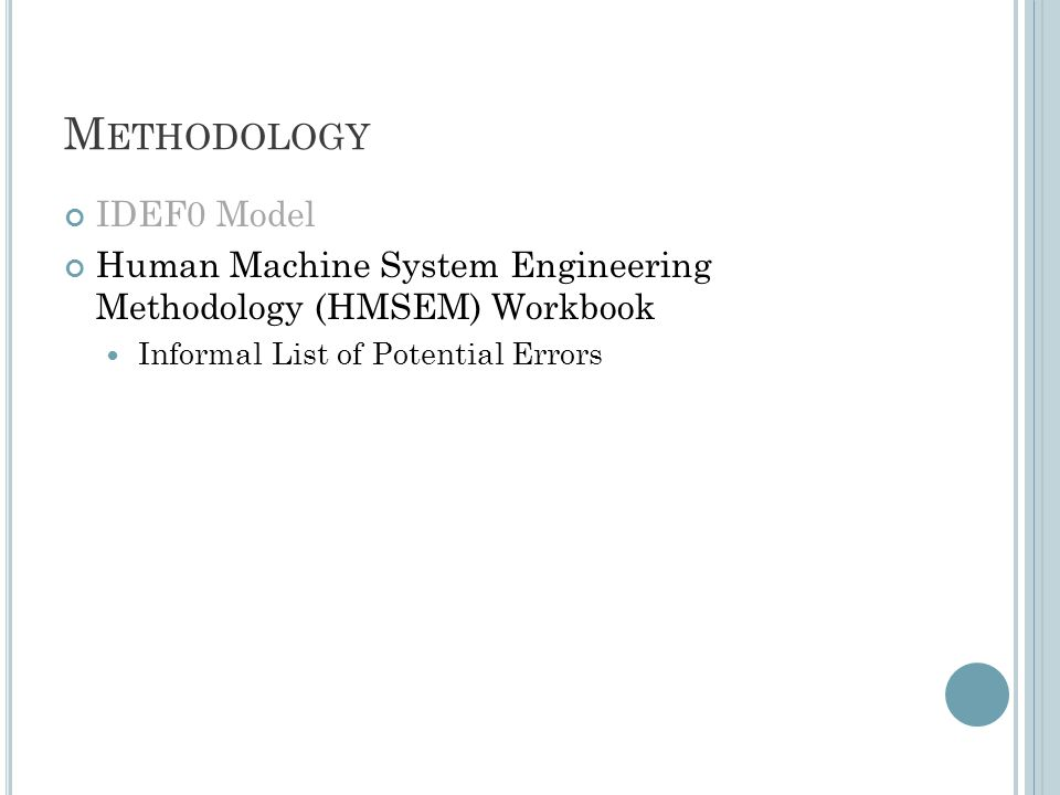 M ETHODOLOGY IDEF0 Model Human Machine System Engineering Methodology (HMSEM) Workbook Informal List of Potential Errors