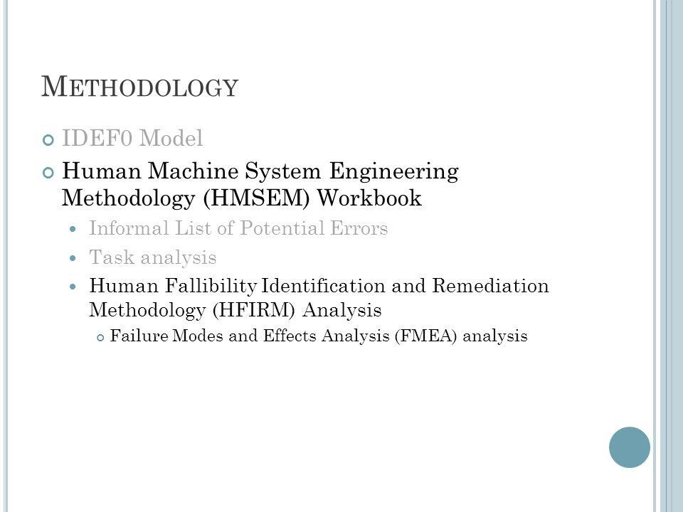 M ETHODOLOGY IDEF0 Model Human Machine System Engineering Methodology (HMSEM) Workbook Informal List of Potential Errors Task analysis Human Fallibility Identification and Remediation Methodology (HFIRM) Analysis Failure Modes and Effects Analysis (FMEA) analysis