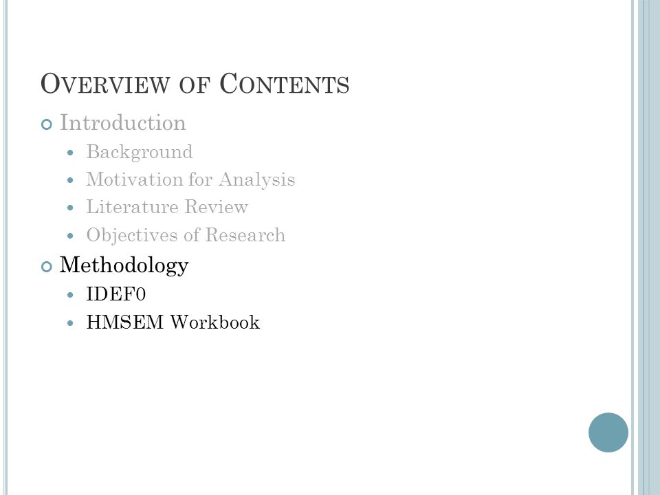 O VERVIEW OF C ONTENTS Introduction Background Motivation for Analysis Literature Review Objectives of Research Methodology IDEF0 HMSEM Workbook