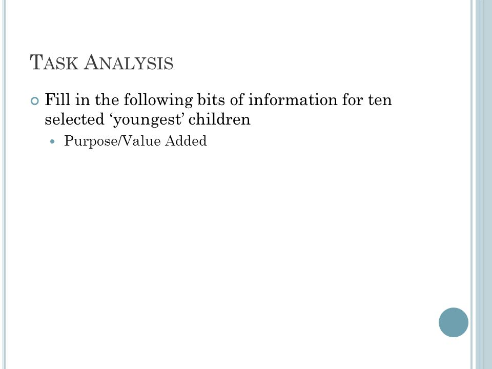 T ASK A NALYSIS Fill in the following bits of information for ten selected 'youngest' children Purpose/Value Added