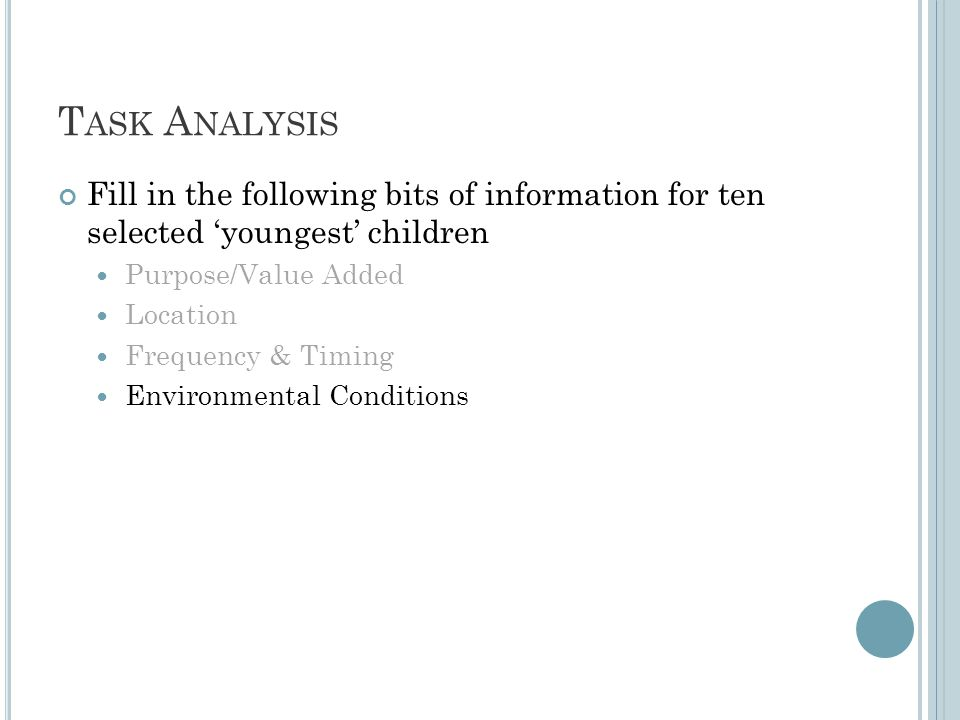 T ASK A NALYSIS Fill in the following bits of information for ten selected 'youngest' children Purpose/Value Added Location Frequency & Timing Environmental Conditions