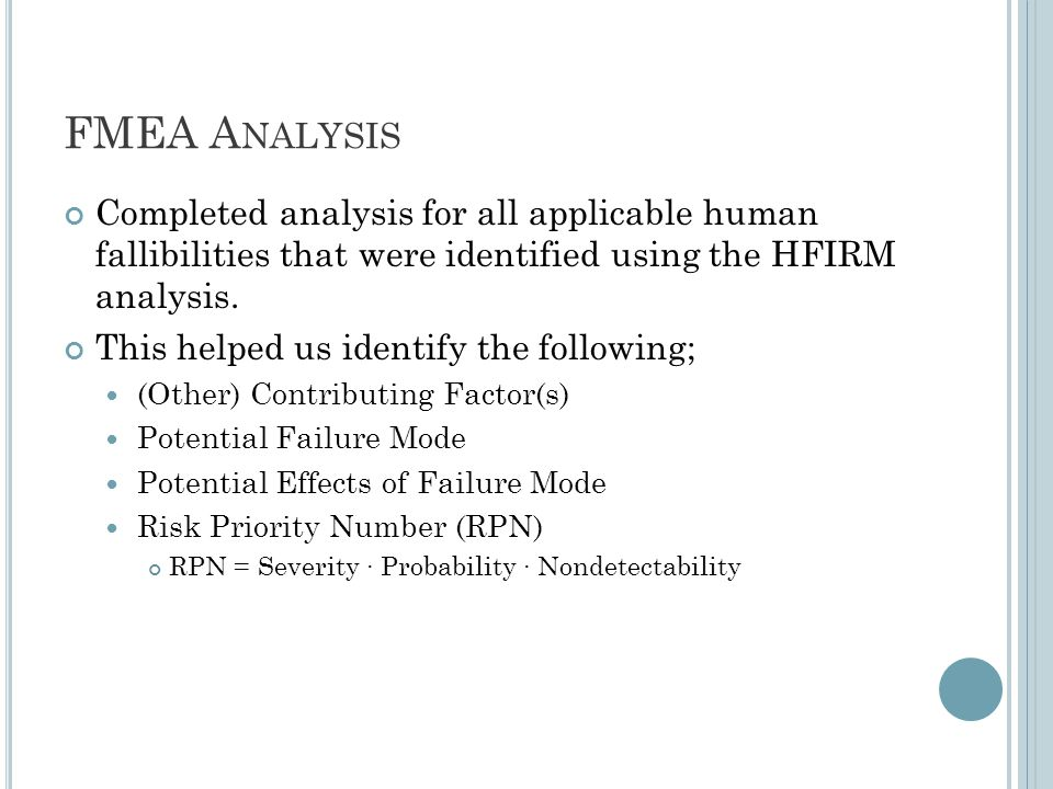 FMEA A NALYSIS Completed analysis for all applicable human fallibilities that were identified using the HFIRM analysis.