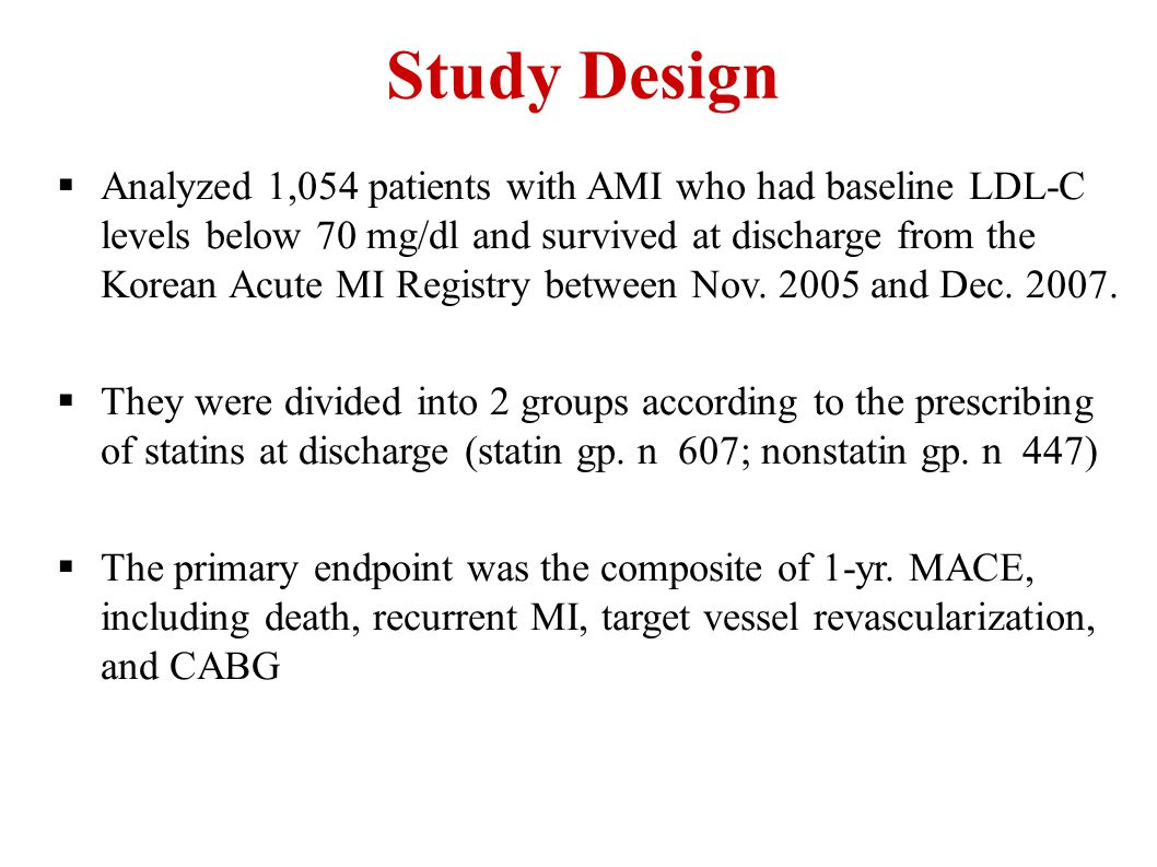  Analyzed 1,054 patients with AMI who had baseline LDL-C levels below 70 mg/dl and survived at discharge from the Korean Acute MI Registry between No