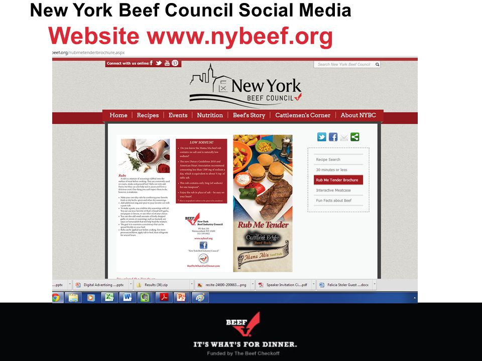 New York Beef Council Social Media Website www.nybeef.org