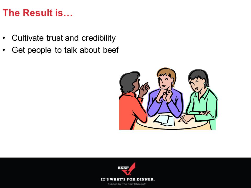 The Result is… Cultivate trust and credibility Get people to talk about beef