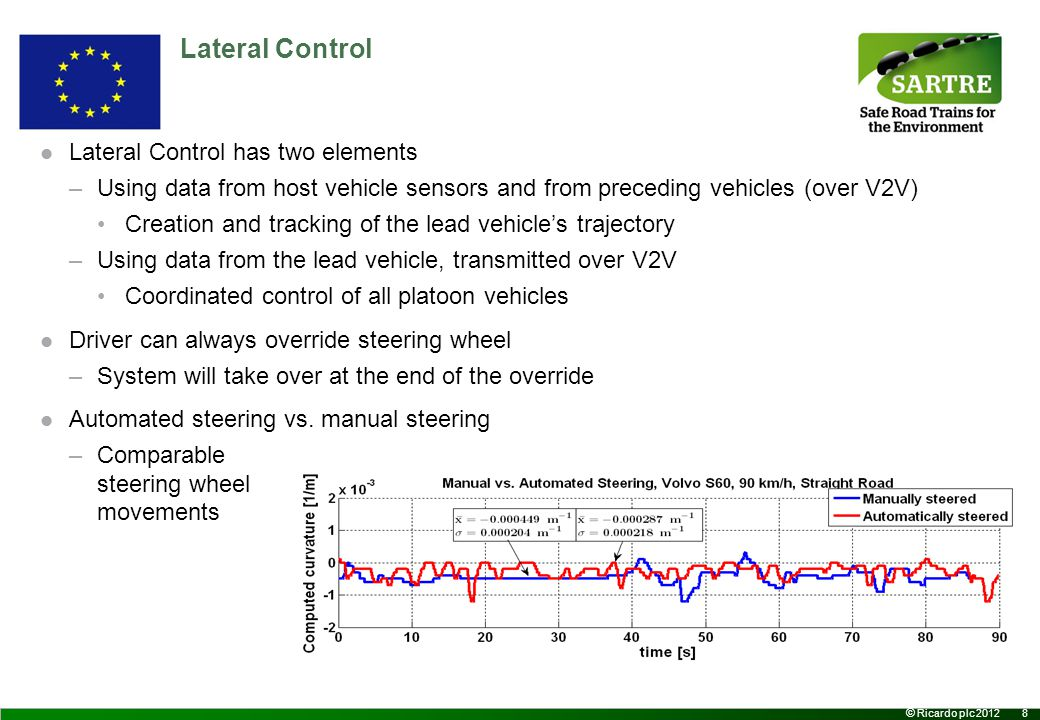 8 © Ricardo plc 2012 Lateral Control Lateral Control has two elements –Using data from host vehicle sensors and from preceding vehicles (over V2V) Creation and tracking of the lead vehicle's trajectory –Using data from the lead vehicle, transmitted over V2V Coordinated control of all platoon vehicles Driver can always override steering wheel –System will take over at the end of the override Automated steering vs.