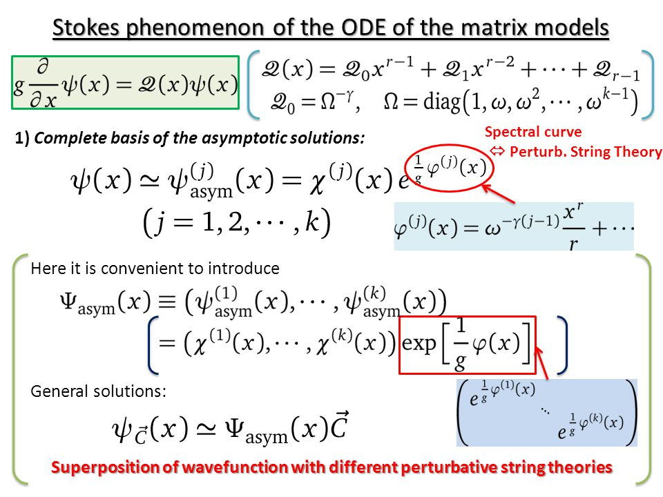 1) Complete basis of the asymptotic solutions: Stokes phenomenon of the ODE of the matrix models Here it is convenient to introduce General solutions: … Superposition of wavefunction with different perturbative string theories Spectral curve  Perturb.