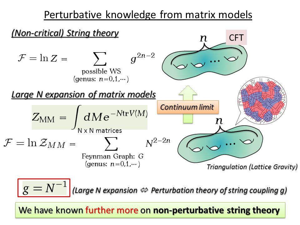 Perturbative knowledge from matrix models Large N expansion of matrix models (Non-critical) String theory Continuum limit Triangulation (Lattice Gravity) (Large N expansion  Perturbation theory of string coupling g) We have known further more on non-perturbative string theory CFT N x N matrices