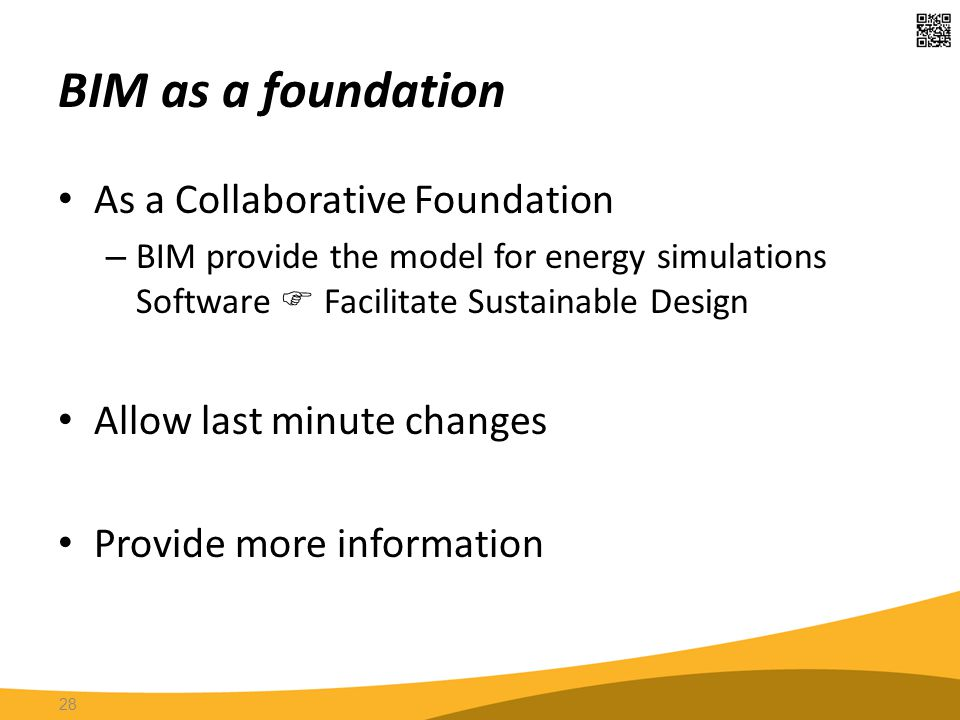 BIM as a foundation As a Collaborative Foundation – BIM provide the model for energy simulations Software  Facilitate Sustainable Design Allow last m