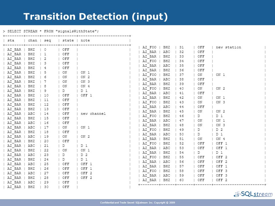 Transition Detection (input) Confidential and Trade Secret SQLstream Inc.