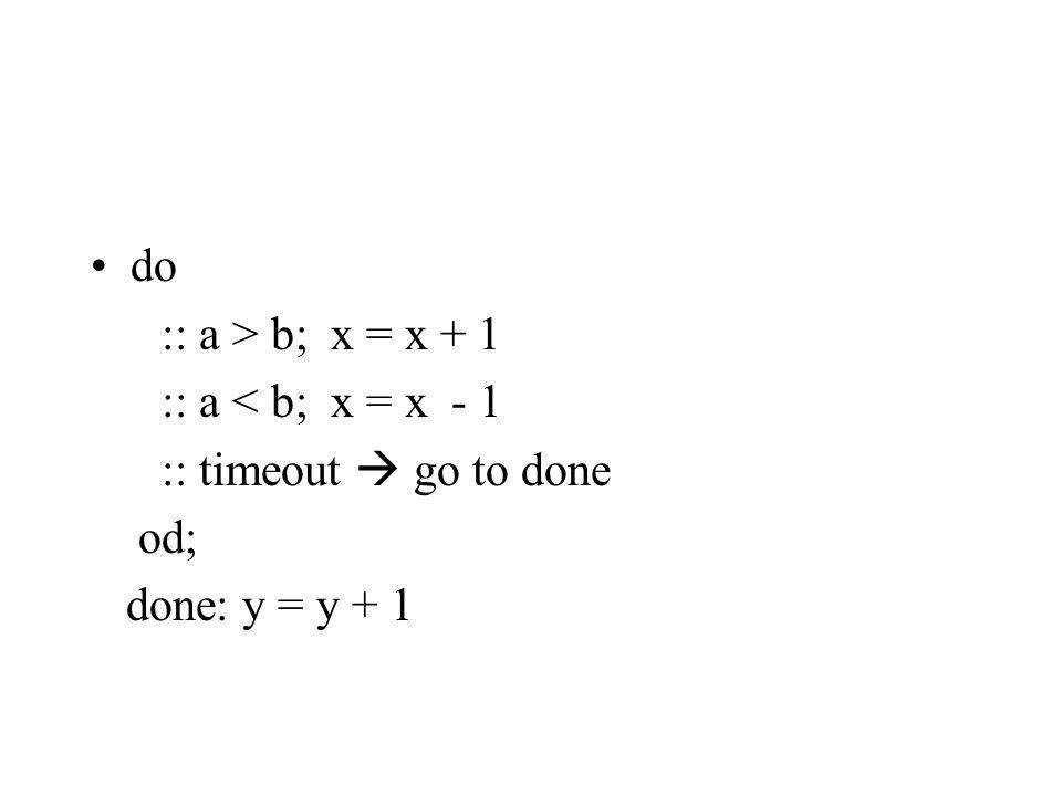 do :: a > b; x = x + 1 :: a < b; x = x - 1 :: timeout  go to done od; done: y = y + 1