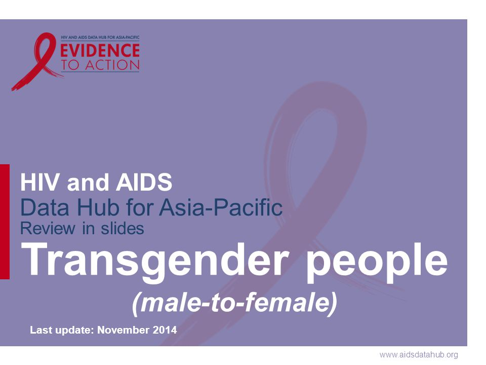 www.aidsdatahub.org HIV and AIDS Data Hub for Asia-Pacific Review in slides Transgender people (male-to-female) Last update: November 2014