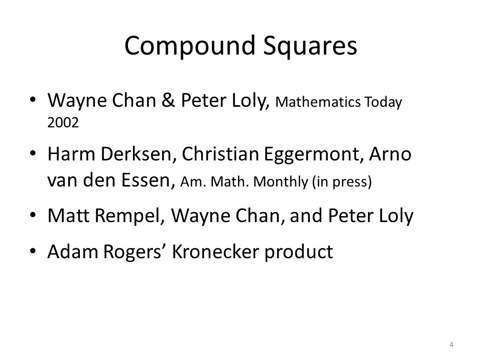4 Compound Squares Wayne Chan & Peter Loly, Mathematics Today 2002 Harm Derksen, Christian Eggermont, Arno van den Essen, Am.