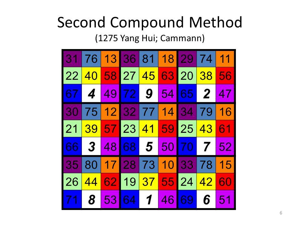 6 Second Compound Method (1275 Yang Hui; Cammann) 317613368118297411 224058274563203856 67 4 4972 9 5465 2 47 307512327714347916 213957234159254361 66 3 4868 5 5070 7 52 358017287310337815 264462193755244260 71 8 5364 1 4669 6 51