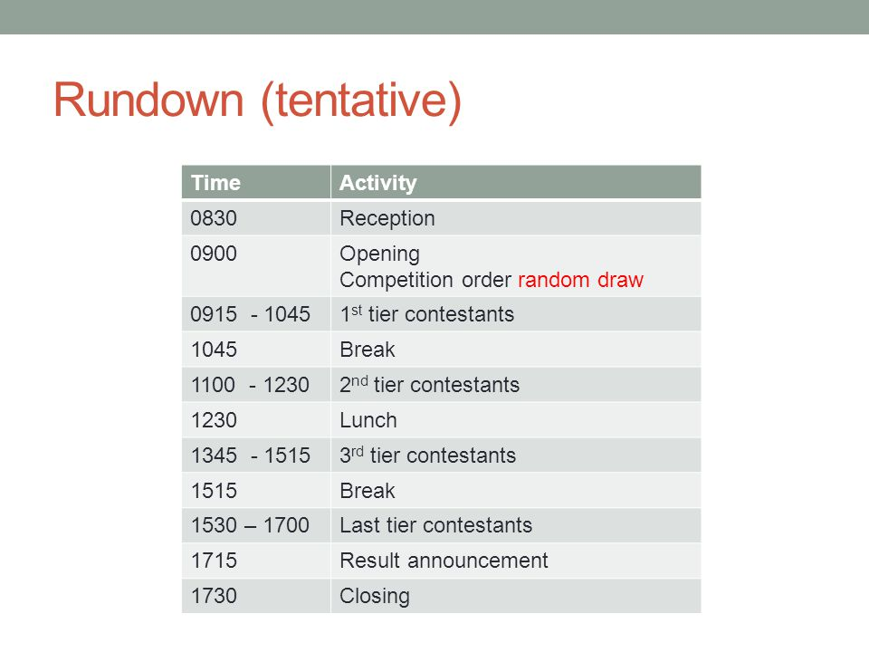 Rundown (tentative) TimeActivity 0830Reception 0900Opening Competition order random draw 0915 - 10451 st tier contestants 1045Break 1100 - 12302 nd tier contestants 1230Lunch 1345 - 15153 rd tier contestants 1515Break 1530 – 1700Last tier contestants 1715Result announcement 1730Closing