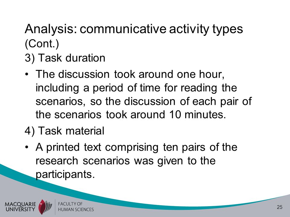 25 Analysis: communicative activity types (Cont.) 3) Task duration The discussion took around one hour, including a period of time for reading the scenarios, so the discussion of each pair of the scenarios took around 10 minutes.