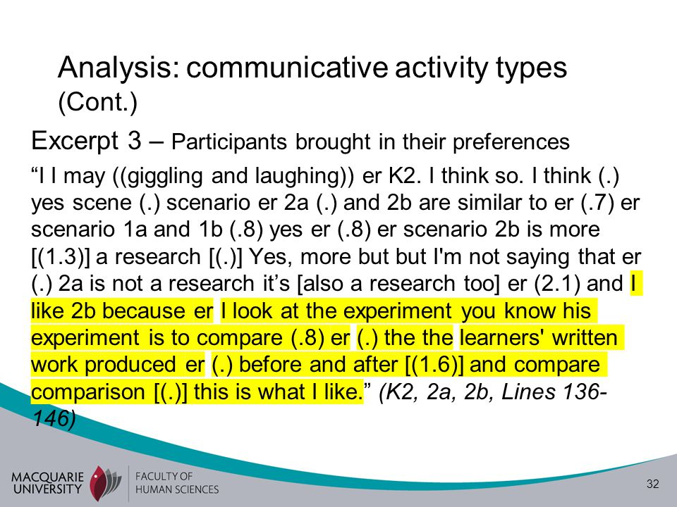 """32 Analysis: communicative activity types (Cont.) Excerpt 3 – Participants brought in their preferences """"I I may ((giggling and laughing)) er K2. I th"""