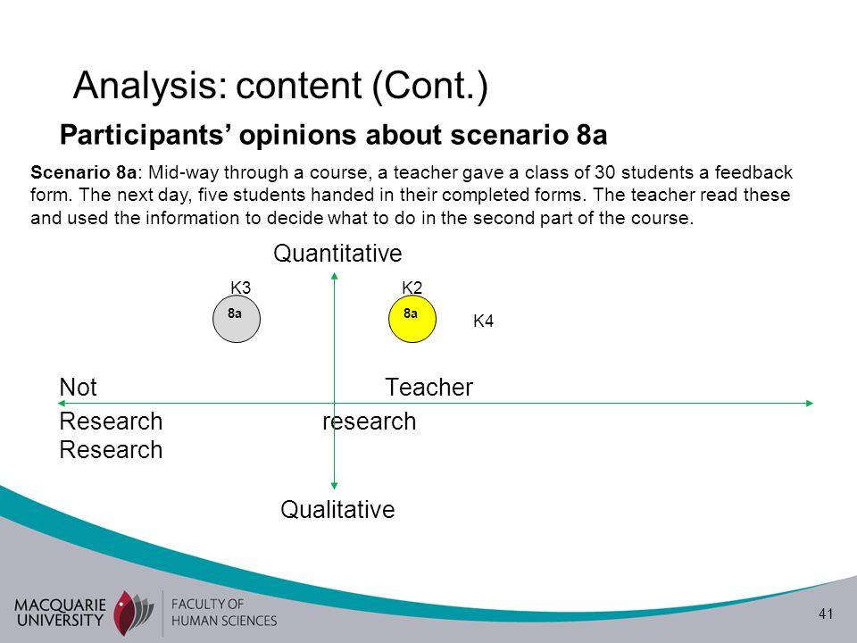41 Analysis: content (Cont.) Participants' opinions about scenario 8a K3K2 K1 K4 Not Teacher Research research Research Quantitative Qualitative Scena