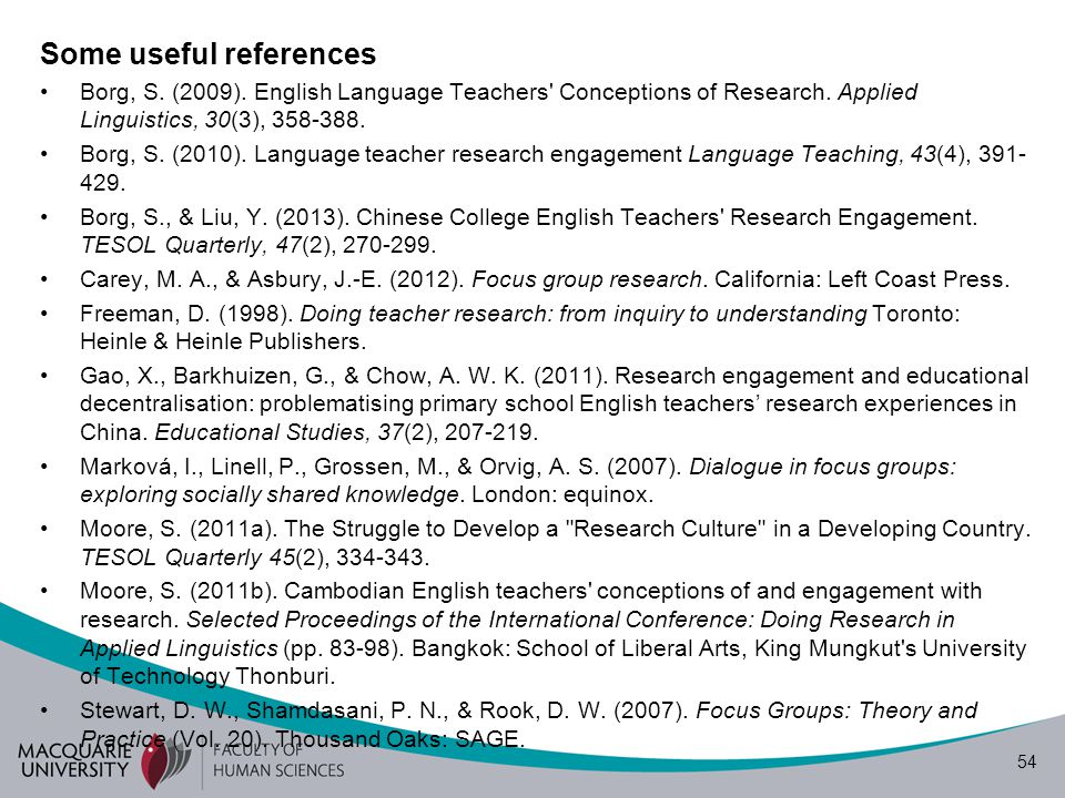 54 Some useful references Borg, S. (2009). English Language Teachers' Conceptions of Research. Applied Linguistics, 30(3), 358-388. Borg, S. (2010). L