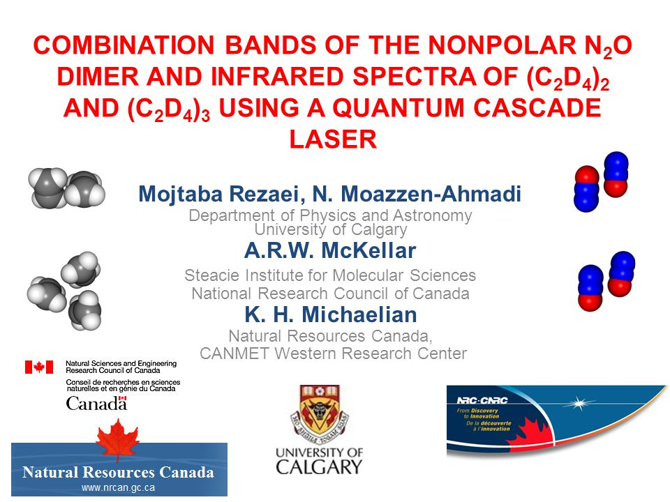 COMBINATION BANDS OF THE NONPOLAR N 2 O DIMER AND INFRARED SPECTRA OF (C 2 D 4 ) 2 AND (C 2 D 4 ) 3 USING A QUANTUM CASCADE LASER Mojtaba Rezaei, N.