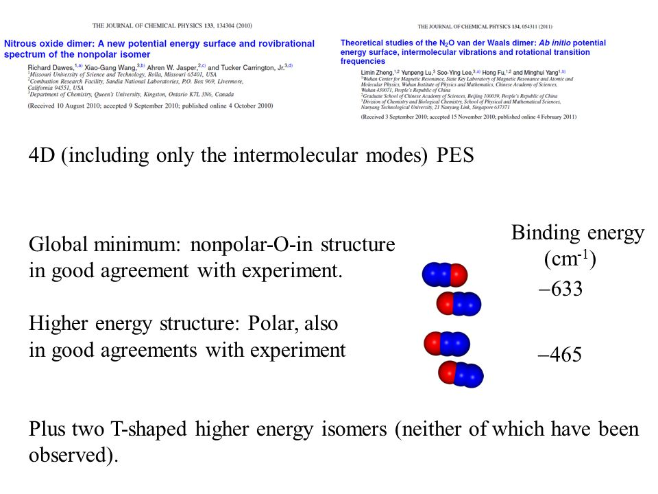 4D (including only the intermolecular modes) PES Global minimum: nonpolar-O-in structure in good agreement with experiment.