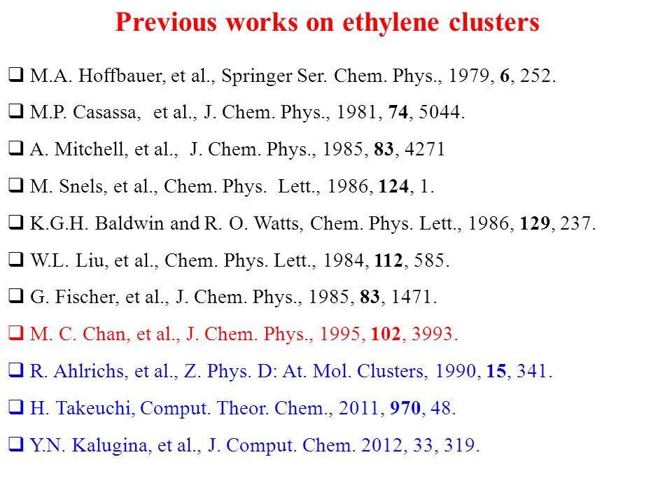 Previous works on ethylene clusters  M.A. Ho ff bauer, et al., Springer Ser. Chem. Phys., 1979, 6, 252.  M.P. Casassa, et al., J. Chem. Phys., 1981,