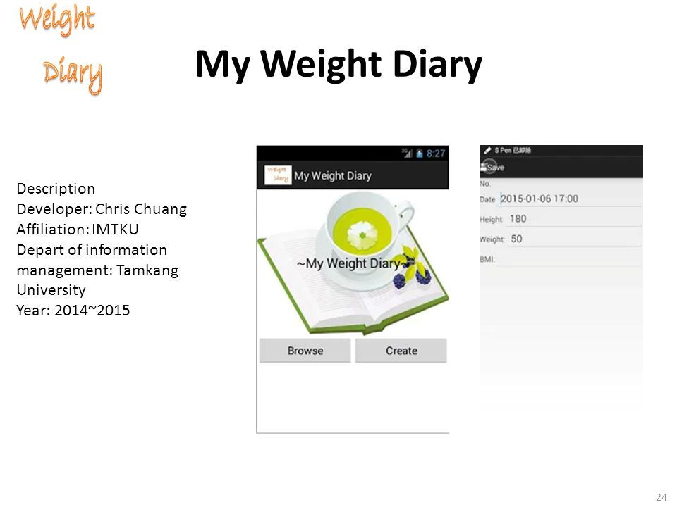 My Weight Diary 24 Description Developer: Chris Chuang Affiliation: IMTKU Depart of information management: Tamkang University Year: 2014~2015