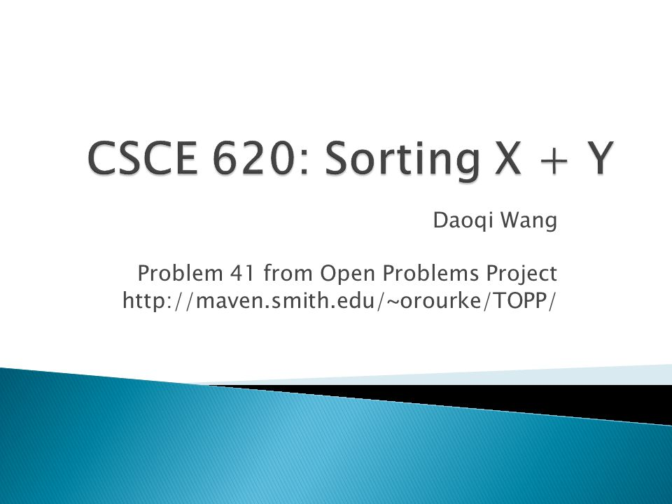Daoqi Wang Problem 41 from Open Problems Project http://maven.smith.edu/~orourke/TOPP/