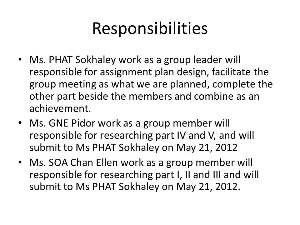 Responsibilities Ms.