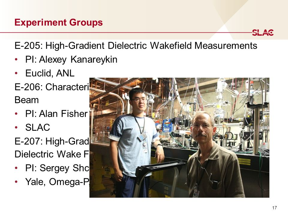 17 Experiment Groups E-205: High-Gradient Dielectric Wakefield Measurements PI: Alexey Kanareykin Euclid, ANL E-206: Characterizing Terahertz Radiation from the FACET Beam PI: Alan Fisher SLAC E-207: High-Gradient THz-scale Two-Channel Coaxial Dielectric Wake Field Accelerator Experiment PI: Sergey Shchelkunov Yale, Omega-P, KIPT