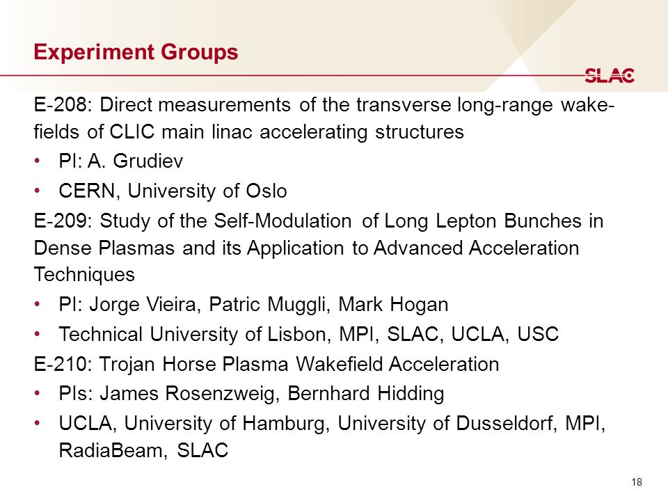 18 Experiment Groups E-208: Direct measurements of the transverse long-range wake- fields of CLIC main linac accelerating structures PI: A.
