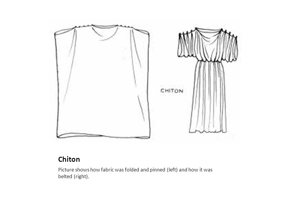Chiton Picture shows how fabric was folded and pinned (left) and how it was belted (right).