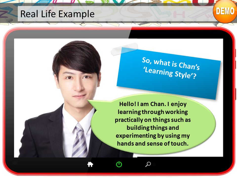 Real Life Example Hello.I am Chan.