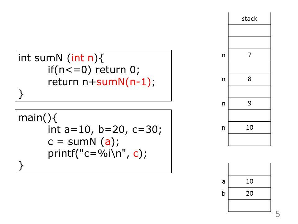 int sumN (int n){ if(n<=0) return 0; return n+sumN(n-1); } stack n7 n8 n9 n10 main(){ int a=10, b=20, c=30; c = sumN (a); printf( c=%i\n , c); } 5 a10 b20