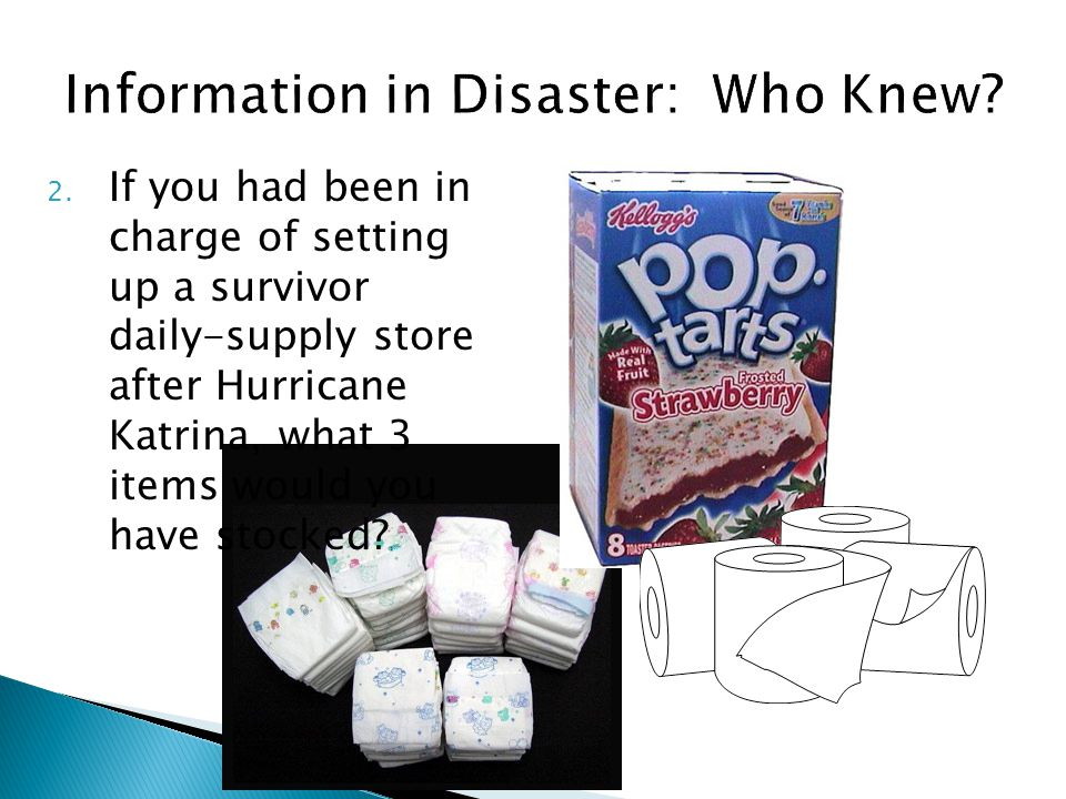 2. If you had been in charge of setting up a survivor daily-supply store after Hurricane Katrina, what 3 items would you have stocked?