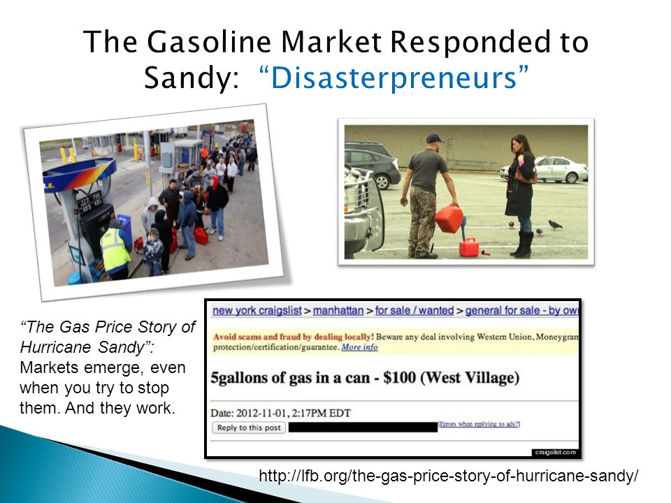 http://lfb.org/the-gas-price-story-of-hurricane-sandy/ The Gas Price Story of Hurricane Sandy : Markets emerge, even when you try to stop them.
