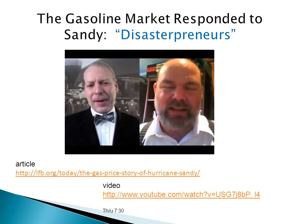 video http://www.youtube.com/watch?v=USG7j8bP_l4 Thru 7:30 article http://lfb.org/today/the-gas-price-story-of-hurricane-sandy/