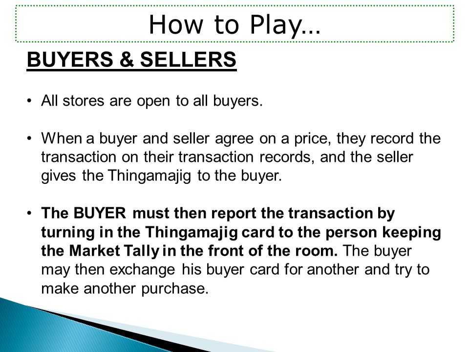 BUYERS & SELLERS All stores are open to all buyers.